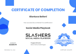 Certificato Social Media Playbook Montemagno Gianluca Belloni